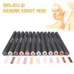 12 Colors Dual Tip Skin Tone Markers Permanent Artist Sketch