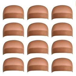 12 Pack Dreamlover Brown Stocking Wig Caps Skin Tone Color S