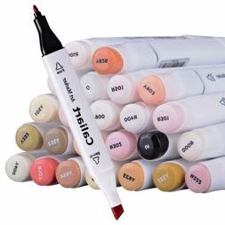 24 colors skin tone markers dual tip