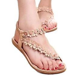 HGWXX7 Women's Summer Bohemia Beaded Sandals Clip Toe Beach