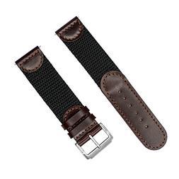 NATO Extra Long Band, YQI Men's Calfskin Leather Nylon Watch