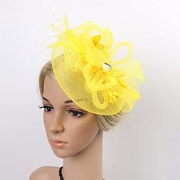 RUIXUE Women's Feather Beaded Fascinator Hat Cocktail Party