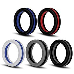 Rinspyre 5 Pack 2 Tone Silicone Wedding Ring Bands for Men C