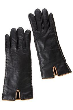 Women's Two-Tone Lambskin Leather Gloves with Shearling Lini