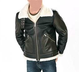 World of Leather Lambskin Leather Jacket Fur Biker Moto Two