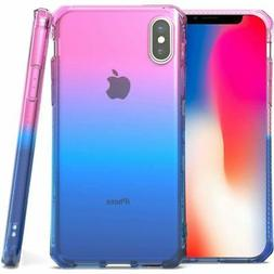 For Apple iPhone X/XS Pink Purple Three Tone Shockproof 1.8m