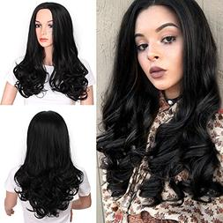 Black Color Long Curly Wigs Natural Wavy Middle Part Hair Wi