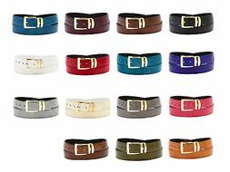 Men/'s Bonded Leather Belt in Solid Colors LIZARD Skin Pattern Silver-Tone Buckle