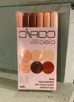 Copic Ciao Marker Pens. 6 Skin Tone Colors. Twin Tip Markers
