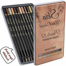 Dark Skin Tone Colored Pencils - Color Art Pencil Set for Po