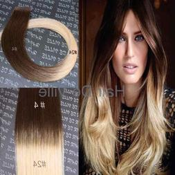 "10 Pieces 20"" inches Balyage Ombre Tape In Skin weft Human H"