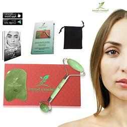 Anti Aging Jade Roller Therapy and Gua Sha Scraping Tool Set