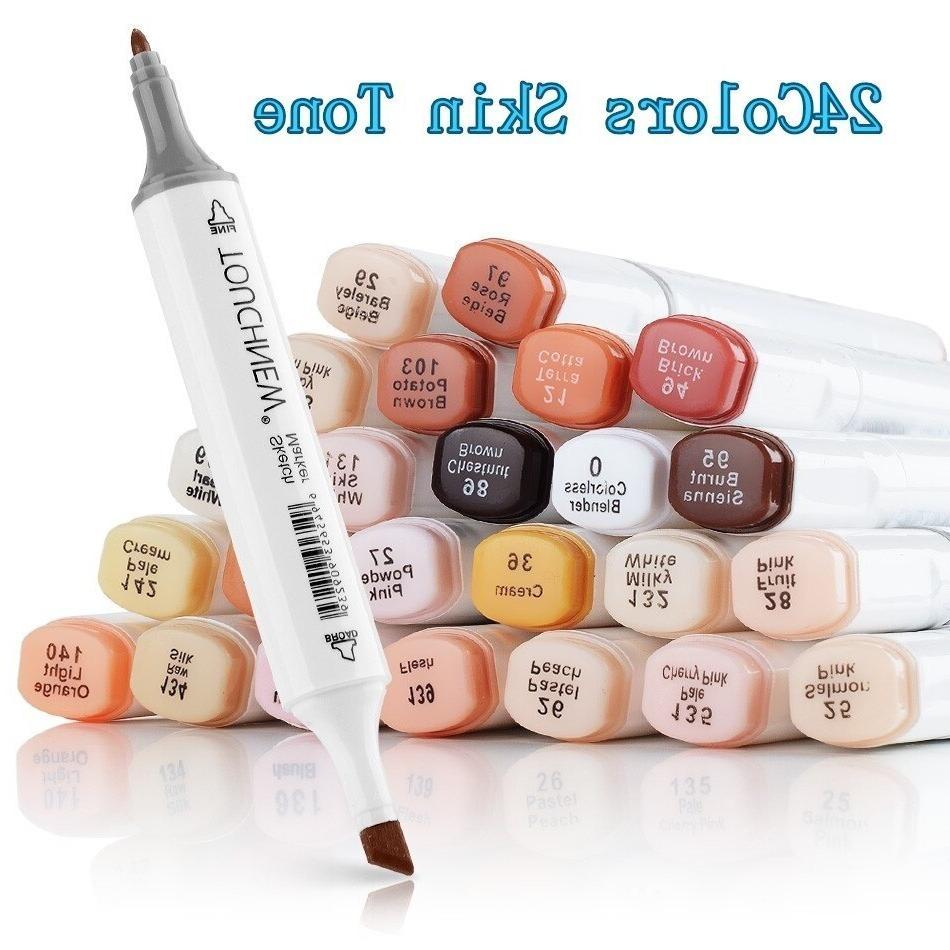 TOUCHNEW 12/24 Colors Marker Pens Color Art Markers Pen <font><b>Skin</b></font>
