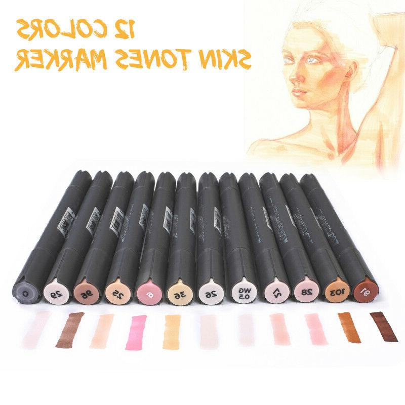 12 colors dual tip skin tone markers