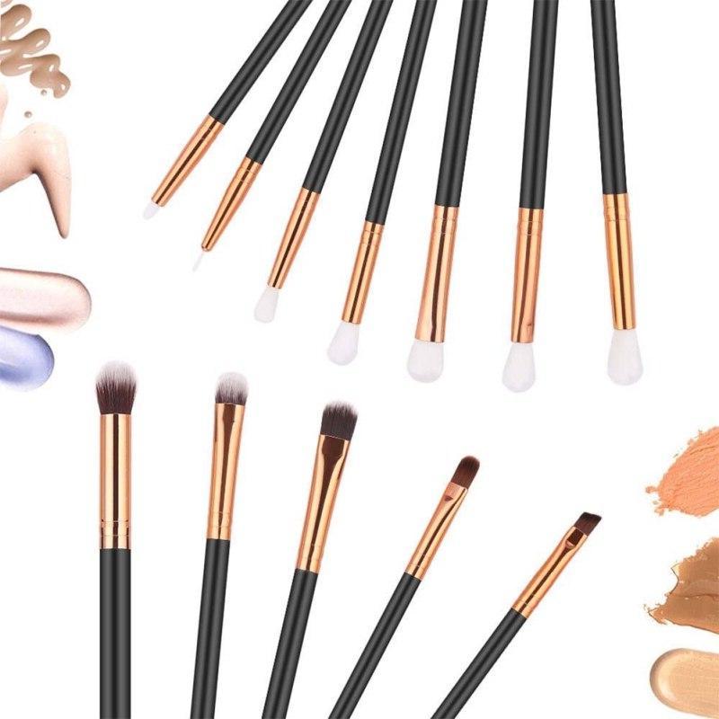 12 Makeup Brush <font><b>Sets</b></font> <font><b>Skin</b></font> <font><b>Tone</b></font> Brown Beauty Tool Brush Eye Brush Tool