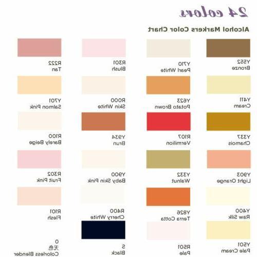24 Colors Markers Dual Tip Marker Set Alcohol Art