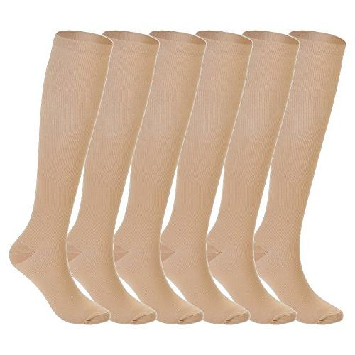 327d236e21 6 Pairs Knee High Graduated Compression Socks For Women and