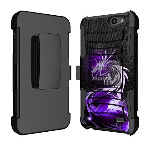 timeless design b3073 a2430 For AT&T ZTE Majesty Pro Z799VL Ituffy Dual Layer Holster Combo Phone Case  Purple Dragon