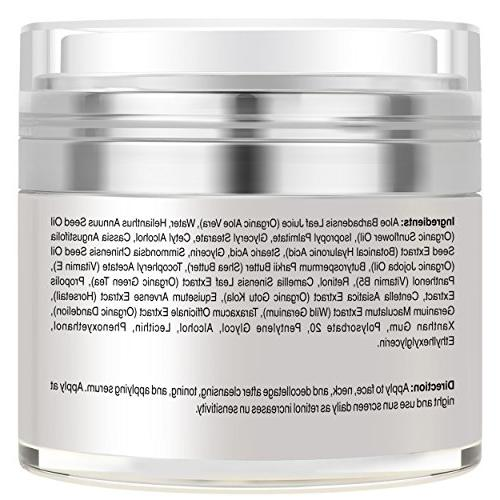 Retinol Face and Eye - Made - with Hyaluronic Vitamin Day Anti Aging to Wrinkles, Fine Even