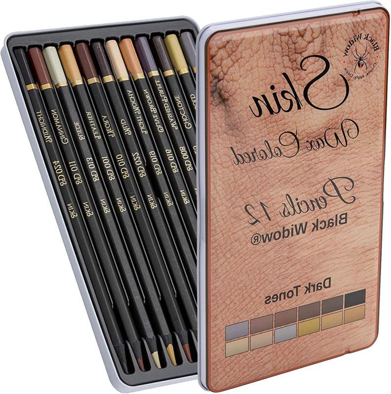 Dark Skin Tone Color Pencils For Portrait Set - Colored Penc
