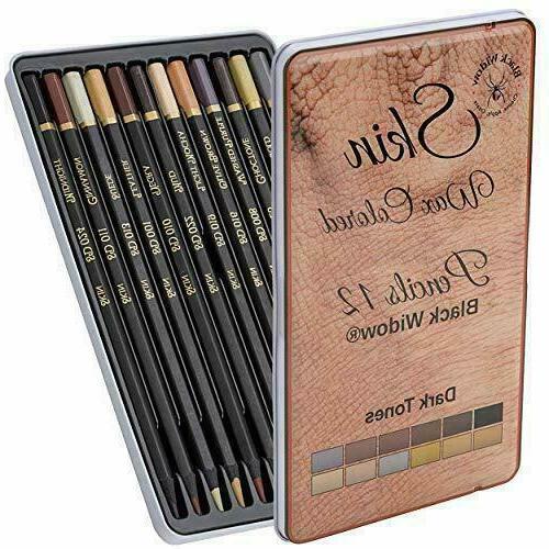 dark skin tone colored pencils 12 pencil