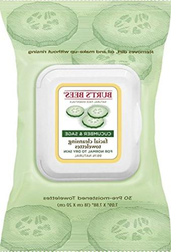 Burt's Bees Facial Cleansing Towelettes, Cucumber and Sage,