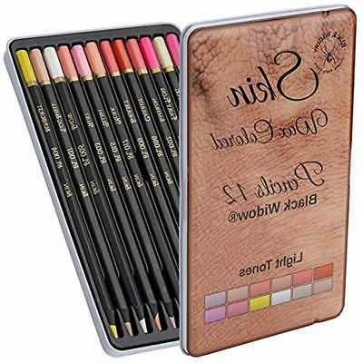 light skin tone color pencils portrait set