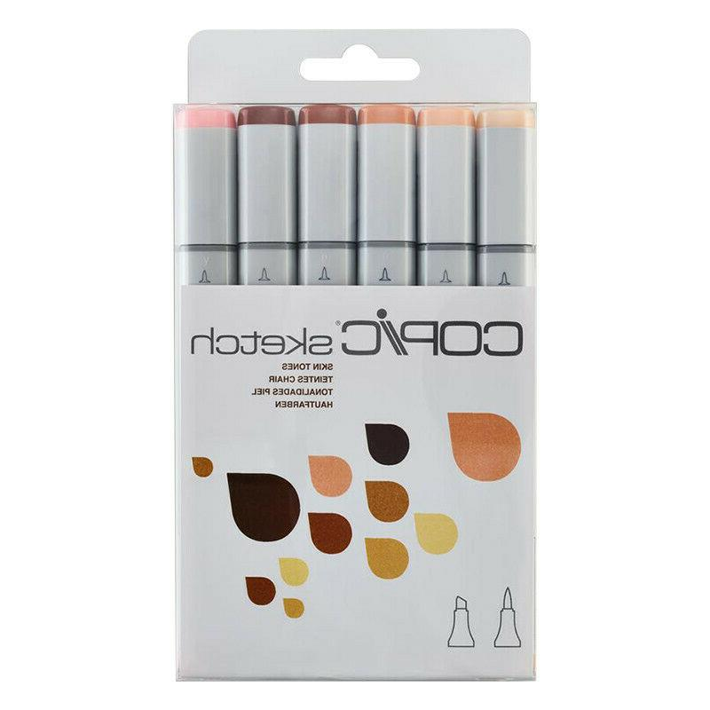 sketch markers set skin tone 6 piece