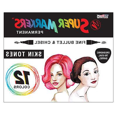 12 Color Super Markers Skin & Hair Tone Set, Dual Tip Chisel