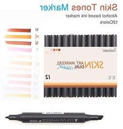 12 Colors Manga Colors Skin Tones Markers Art Marker Double-