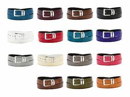 Men's Bonded Leather Belt in Solid Colors LIZARD Skin Patter