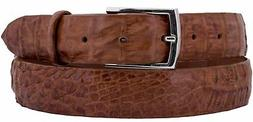 Mens Chedron All Real Crocodile Exotic Skin Belt Dress Silve