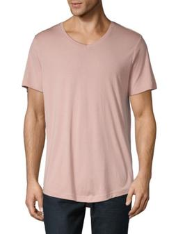 Mens Saks Fifth Avenue V-Neck Short Sleeve T-Shirt Nude Neut