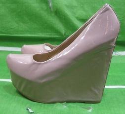 "new ladies skintone 6""High Wedge Heel 2""Platform Round Toe S"