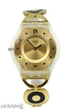 New Swatch Lady CARING SWING Steel Skin Gold Tone Watch 34mm