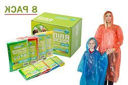 Lingito Rain Poncho Family Pack: Extra Thick -Disposable Eme