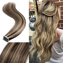 """22"""" 100g Remy Human Hair Tape in Hair Extensions Straight Ha"""