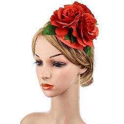 Wcysin Women's Rose Hair Flower Clips Fascinator Flowers Hai