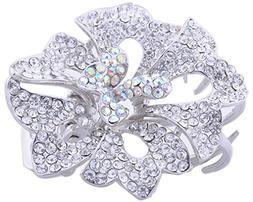 Silver Color Crystal Rhinestone Alloy Flower Hair Claw Clip