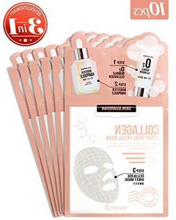 SkinGuardian Collagen 3 Step Total Facial Mask set of 10 wit