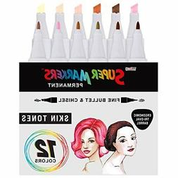 12 Color Super Markers Skin & Hair Tone Set, Dual Tip Chisel