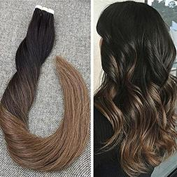 Ugeat 14inch Tape in Hair Extensions Balayage Ombre Glue in