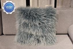 Lichao Two-Tone Snow Tip Mongolian Lamb Fur Pillow Cover Lux