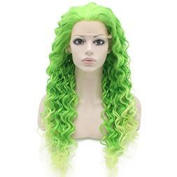 Two Tone Green Curly Lace Front Synthetic Wig Natural Stylis