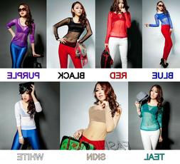 Women's Long Sleeve Mesh Sheer See Through Casual Blouse Top